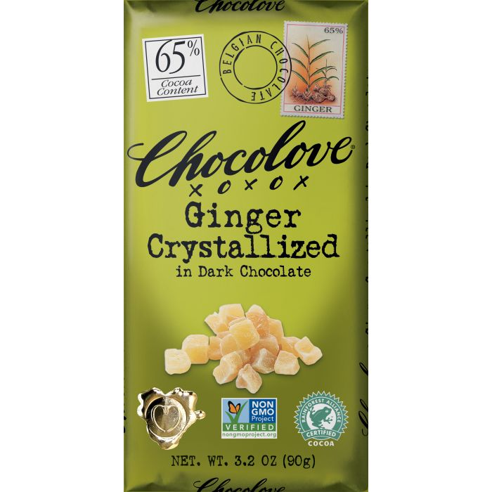 Chocolove Ginger Crystalized in Dark Chocolate, 3.2 oz.