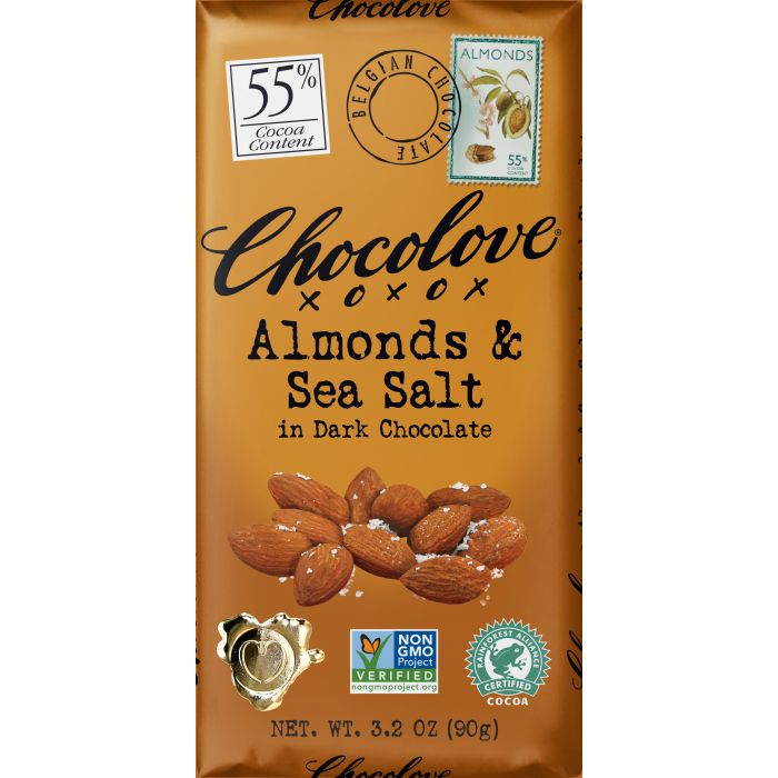 Chocolove Almonds & Sea Salt in Dark Chocolate, 3.2 oz.
