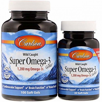 Carlson Super Omega-3 Fish Oil Gems, 100 Softgels + 30 Softgel Bonus Pack