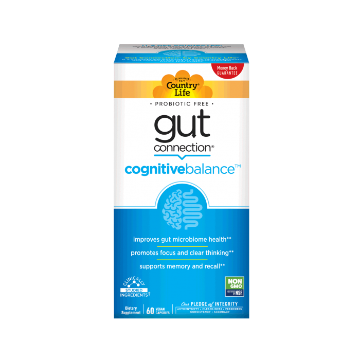 Country Life Gut Connection Cognitive Balance, 60 Capsules