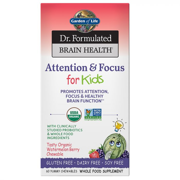 Garden of Life Dr. Formulated Attention & Focus for Kids, Watermelon Berry Flavor, 60 Chewables
