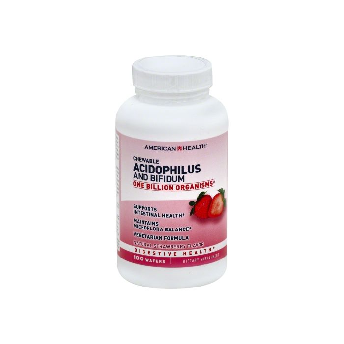 American Health Chewable Acidophilus and Bifidum, Natural Strawberry Flavor, 100 Wafers
