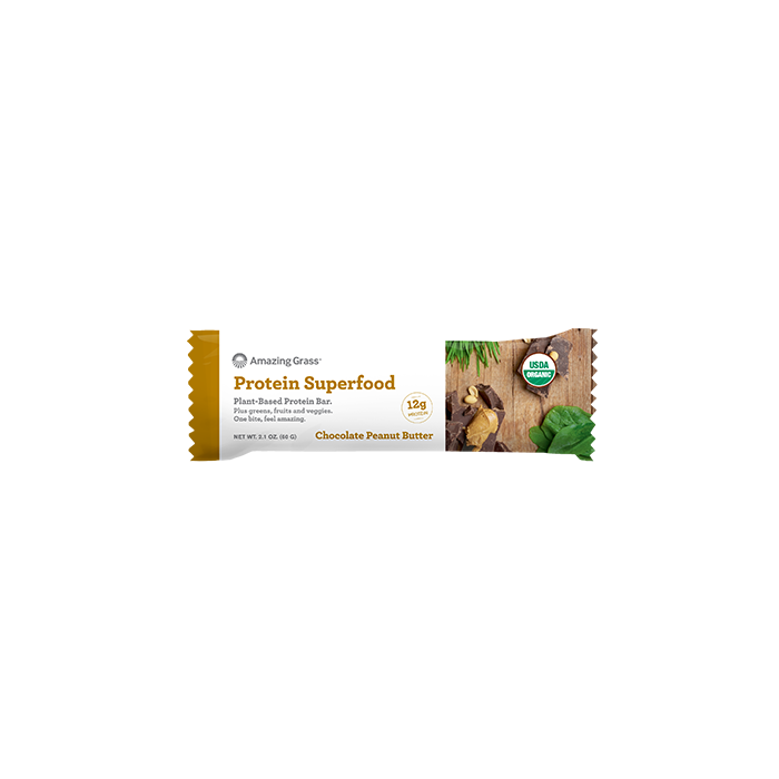 Amazing Grass Protein Superfood Chocolate Peanut Butter Plant-Based Protein Bar