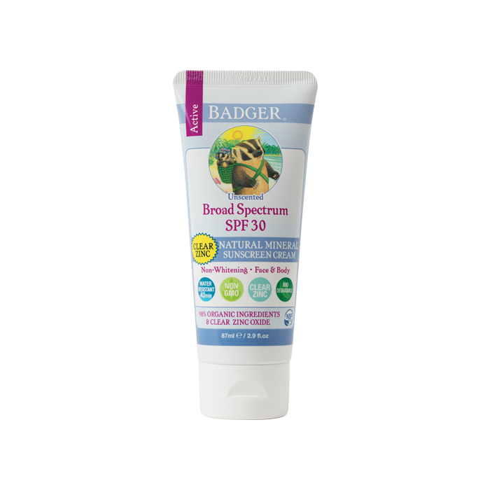 Badger Clear Zinc Sunscreen Unscented, SPF 30, 2.9 fl. oz.