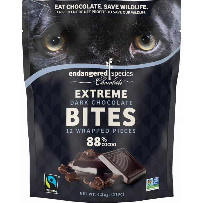 Endangered Species Extreme Dark Chocolate Bites, 12 Pieces