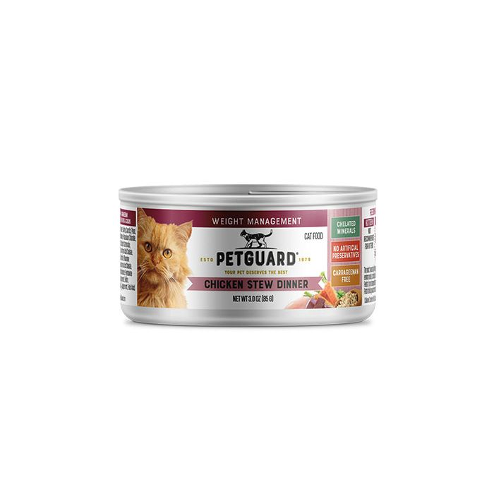 Pet Guard Chicken Stew Dinner Canned Cat Food for Weight Management, 3 oz.