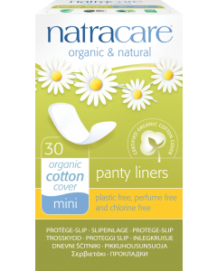 NatraCare Mini Organic Cotton Panty Liner, 30 Count