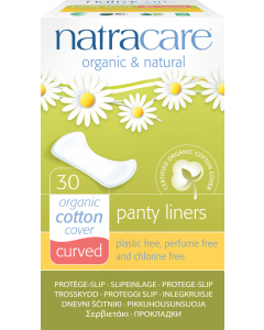 NatraCare Organic Cotton Curved Panty Liners, 30 Count