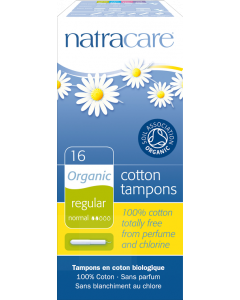 NatraCare Organic Cotton Regular Tampons With Applicator, 16 Count