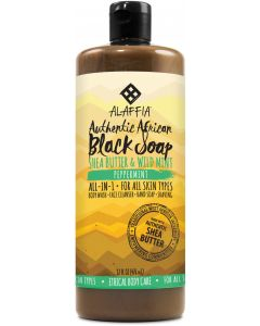 Alaffia Authentic African Black Soap, Peppermint, 32 fl. oz.