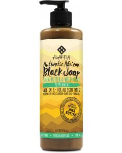 Alaffia Authentic African Black Soap, Peppermint, 16 fl. oz.