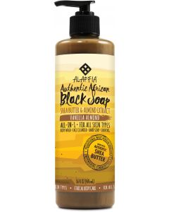 Alaffia Authentic African Black Soap, Vanilla Almond, 16 fl. oz.