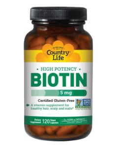 Country Life High Potency Biotin 5 Mg, 120 Vegetarian Capsules