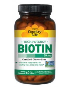Country Life High Potency Biotin 10 Mg, 60 Vegetarian Capsules