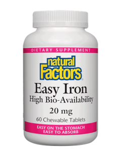 Natural Factors Easy Iron, 20mg, 60 Chewable Wafers