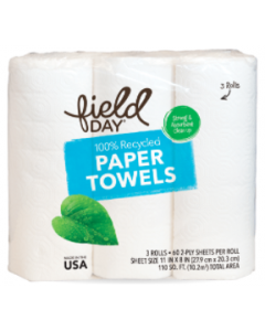 Field Day Recycled Paper Towel, 3 count