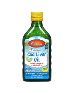 Carlson Kid's Cod Liver Oil Liquid, Lemon, 8.4 fl. oz.
