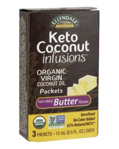 Keto Coconut Infusions™ Virgin Coconut Oil Butter Flavor, Organic - 3 - 15 mL Packets