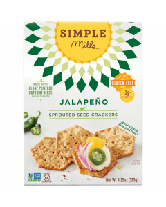 Simple Mills Jalapeno Sprouted Seed Crackers, 4.25 oz.