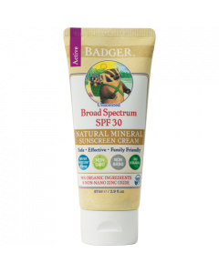 Badger Naturally Unscented SPF 30 Sunscreen with Zinc Oxide, 2.9 fl. oz.
