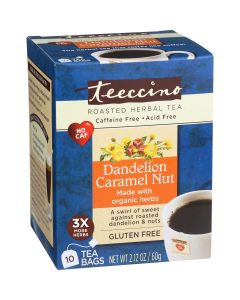 Teeccino Dandelion Caramel Nut Roasted Herbal Tea, 10 Tea Bags