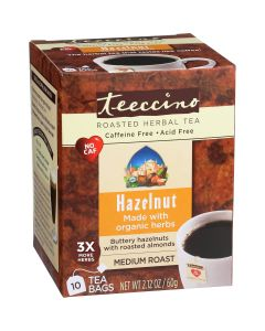 Teeccino Hazelnut Chicory Roasted Herbal Tea, 10 Tea Bags